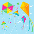 Kites vector illustration of colorful and clouds in the sky Stock Images