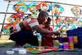 Kites vendors sell handicrafts in a field in the city of solo central java indonesia Stock Photography