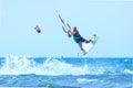 Kitesurfer during a jump. Royalty Free Stock Photo
