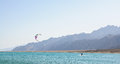 Kitesurfer in lagoon Royalty Free Stock Images