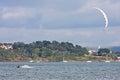 Kitesurfer in portland harbour riding Royalty Free Stock Photo