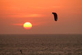 Kitesurfer at sunset Stock Photography