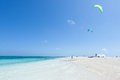Kitesurfers preparing on tropical beach, Okinawa, Japan Royalty Free Stock Photo
