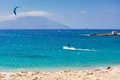 Kitesurfing in Agrillaopotamos of Karpathos, Greece Royalty Free Stock Photo