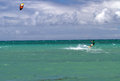 Kitesurfing on mauii surfer a bright yellow kiteboard maui hawaii Stock Image