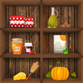 Kithcen shelves vector illustration of kitchen Stock Images