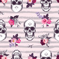 Kitschy seamless pattern with human skulls and half-colored buds of rose flowers against pink background with gray horizontal grun Royalty Free Stock Photo
