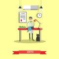 Kitten birth in vet clinic, vector illustration, flat design