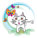 Kitten children draw Royalty Free Stock Photo