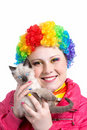 Kitten and clown with rainbow make up Royalty Free Stock Images