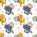 Kitten pattern vector image seamless Royalty Free Stock Images