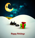 Kitten playing with gift box alone in the snow under moonlight layered eps vector background Royalty Free Stock Photography