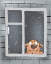 A kitten in the rain cartoon sad cat looks out of window Royalty Free Stock Photography