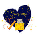 Kitten surprise gift illustration in box Stock Photos