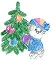Kitty decorates a Christmas tree Royalty Free Stock Photo