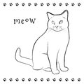 Kitty drawing line of sitting cat Stock Photos