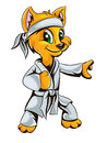 Kitty karate vector color character Royalty Free Stock Image
