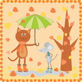 Kitty and mouse walking at the autumn day funny Stock Images