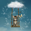 Kitty in the sky Royalty Free Stock Images