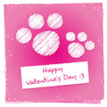 Kitty valentines day greeting card Arkivbild