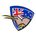 Kiwi bird new zealand flag shield retro illustration of an angry head viewed from side with in background set inside crest done in Royalty Free Stock Image