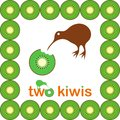 Kiwi bird two kiwis fruit and in frame made of kiwis Royalty Free Stock Image