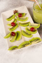 Kiwi christmas tree made of kiwis a festive kid dessert Stock Images