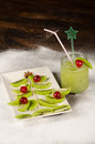 Kiwi christmas tree made of kiwis a festive kid dessert Stock Photography