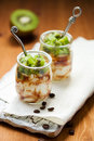 Kiwi,coffee and ricotta dessert Stock Photo