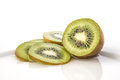 Kiwi on dish a white and sliced Royalty Free Stock Image