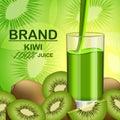 Kiwi fruit food slice banner, realistic style Royalty Free Stock Photo