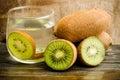 Kiwi fruit fresh on wooden background Royalty Free Stock Photo