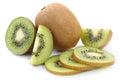 Kiwi fruit fruits sliced isolated on white a background Stock Photo