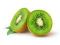 Kiwi fruit half of isolated on a white Stock Photo