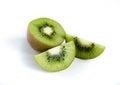 Kiwi fruit and his sliced segments Stock Photos