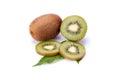 Kiwi fruit isolated on white background, macro