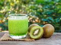 Kiwi fruit and kiwi smoothie Royalty Free Stock Photo