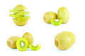 Kiwi fruit and sliced segments isolated on white background fruits Royalty Free Stock Image