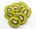Kiwi fruit slices of arranged in a circular pattern Royalty Free Stock Image