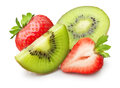 Kiwi fruit and strawberry slice isolated on white Royalty Free Stock Photo