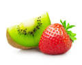 Kiwi fruit and strawberry slice isolated on white Royalty Free Stock Images
