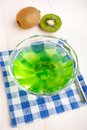 Kiwi jelly with mint sweet green leaf Royalty Free Stock Photo