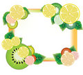 Kiwi and lemon slices frame Royalty Free Stock Photo