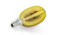 Kiwi lightbulb concept of green energy isolated on white Royalty Free Stock Photos