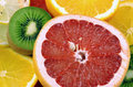 Kiwi, orange, lemon and grapef Royalty Free Stock Photography