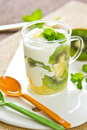 Kiwi and Pineapple with yogurt Stock Image