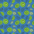 Kiwi seamless pattern. Hand drawn fresh tropical fruit. Multicolored vector sketch background. Colorful doodle wallpaper. Green