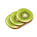 Kiwi slices on white background Stock Photos