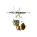 Kiwi splash on water, isolated Royalty Free Stock Photo