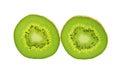 Kiwifruit slice isolated on a white background Stock Images